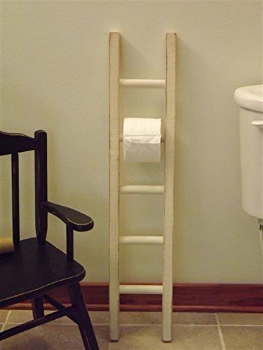 Toilet paper holder/ ladder/ wood/ multi roll/ white/ black/ turquoise/ walnut/ distressed
