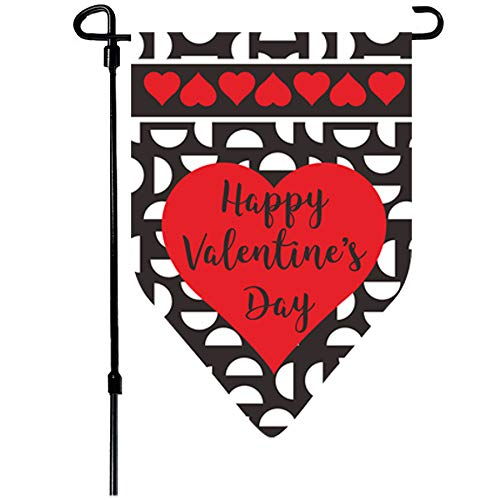 W&X Valentine's Day Flag,Valentine's Heart Garden Flag 12.5x18 Inch Double Sided Printing 2 Layer Burlap Valentine Flags for Your Valentine's Day Decoration]()
