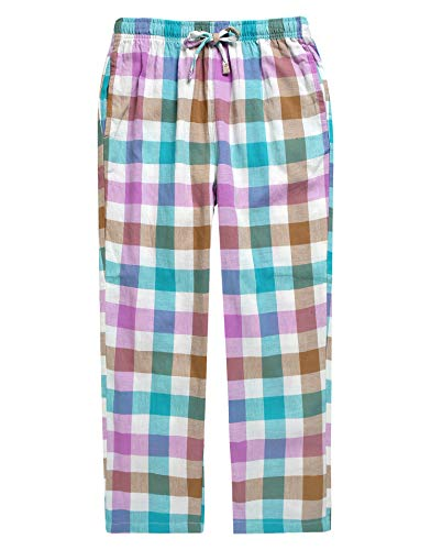 (TINFL Boys Plaid Check Soft 100% Cotton Lounge Pants BLP02-10-Rainbow-L)
