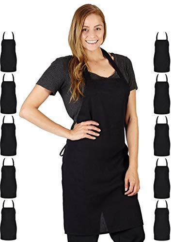 Professional Bib Aprons, Durable 100% Spun Poly, Commercial Restaurant, Kitchen Apron, (12, Black) by White Classic