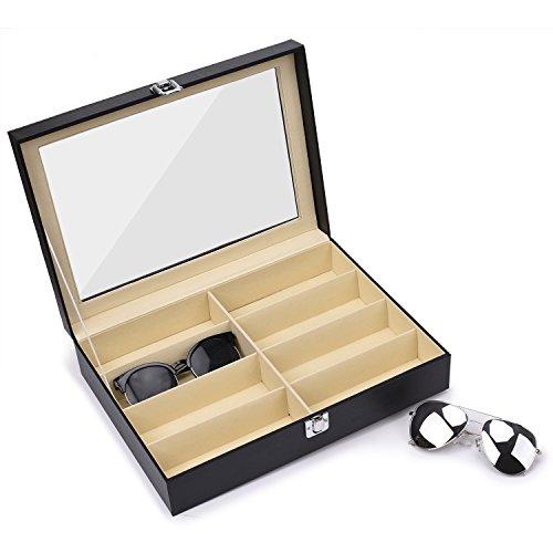 Juns Sunglasses Eyeglass Organizer, 8 Slots PU Leather Eyewear Storage Box Jewelry Display Case Watch Box with Glass Lid by Juns (Image #4)