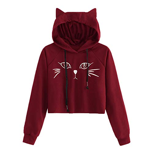 Misaky Women's Hoodies Cat Ear Solid Long Sleeve Sweatshirt Hooded Pullover Tops Blouse(Rb_Wine, S)