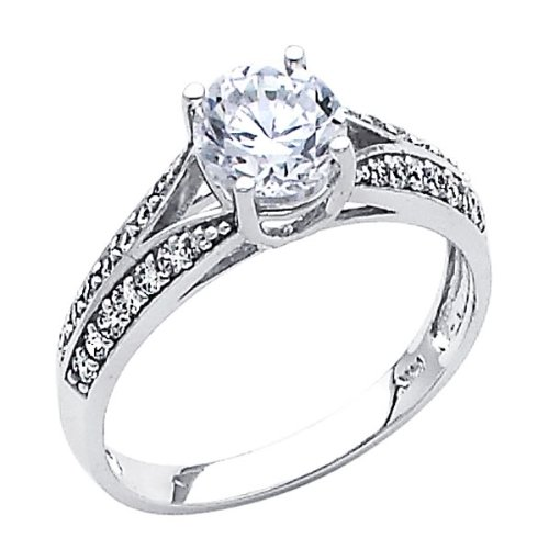 .925 Sterling Silver Rhodium Plated Wedding Engagement Ring GoldenMine