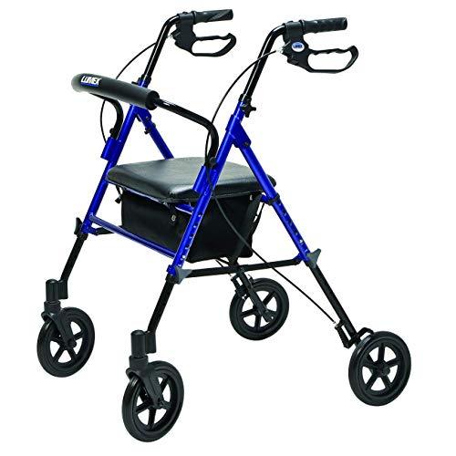 Lumex Set n' Go Wide 2-in-1 Height-Adjustable Rollator, Blue, -