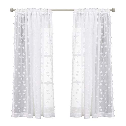 MYSKY HOME Rod Pocket Rhombus Pompon Design White Sheer Curtains for Bedroom, 63 Inch Length, 2 Curtain Panels (Curtains Pom Pom)