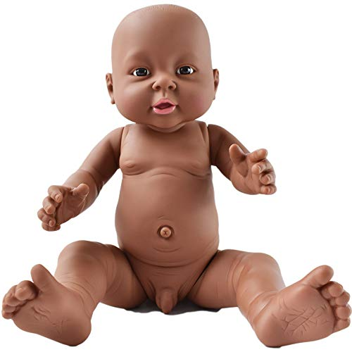 - HiPlay African American Baby Doll, Lifelike Silicone Vinyl Naked Boys/Girls, Newborn Baby Dolls for Kids Toys/Nursing Practice/Teaching/Photography - Size & Gender Selectable (16