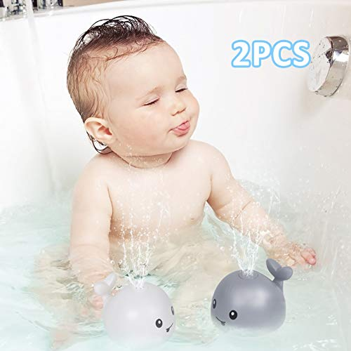 AOLIGE Baby Light Up Bath Toys for Kids Spray Water Whale Bathtub Toys (White)
