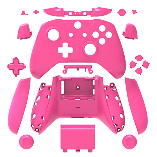 (WPS Matte Case Housing Full Shell Set Faceplates + ABXY Buttons + RB LB Bumpers + Right/Left Rails for Xbox One S Slim (3.5 mm Headphone Jack) Controllers (Pink) )