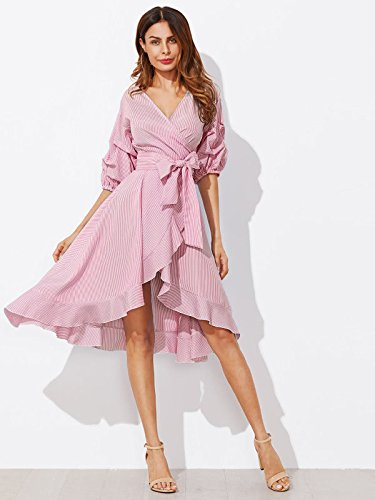 Milumia-Womens-V-Neck-Striped-Pinstripe-Flounce-Dip-High-Low-Hem-Split-Wrap-Dress