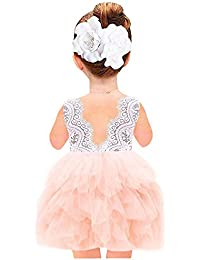 Girl Beaded Peony Lace Back A-Line Tiered Tutu Tulle...