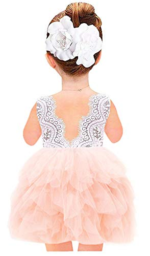 2Bunnies Girl Beaded Peony Lace Back A-Line Tiered Tutu Tulle Flower Girl Dress (Pink Sleeveless Short, -