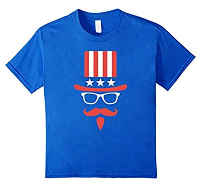 Uncle Sam Hat Glasses And Mustache Funny 4th of July T-shirt