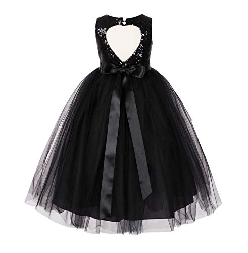 ekidsbridal Heart Cutout Sequin Junior Flower Girl Dress Christening Dresses 172seq 2 Black]()