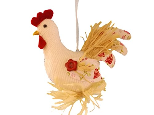 Rooster Red and White Fabric Chicken Farm Animal Bird Christmas Tree Ornament