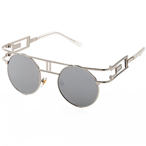 SojoS Retro Vintage Style Gothic Steampunk Flash Mirror Reflective Circle Sunglasses With Silver Frame/Silver Mirror - Sunglasses Women Unique For