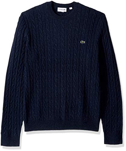 - Lacoste Men's Cable Stitch Wool Sweater, MATELOT Chine, Large