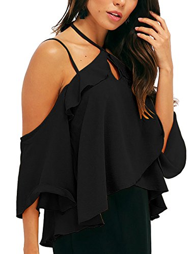 ALLY-MAGIC Off Shoulder Halter Neck Chiffon Tops Shirt, Womens Double Straps Short Sleeves Blouse