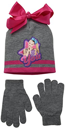 Nickelodeon Little Girls' JoJo Siwa Collection, Pink Bow Beanie and Gloves Set, One-Size