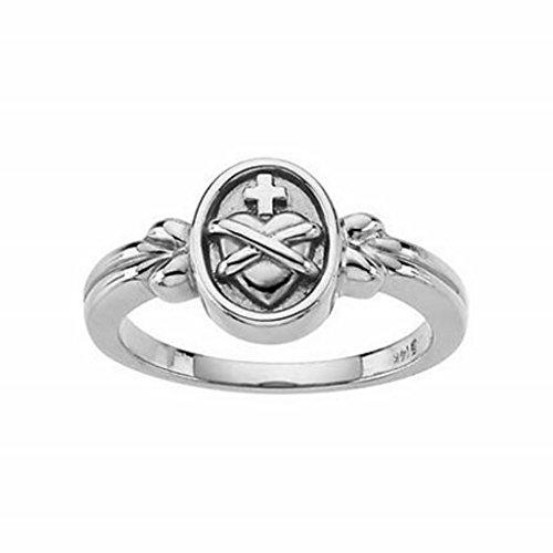 Roxx Fine Jewelry Sacred Heart of Jesus Ring 14K White Gold 10mm R6506 by Roxx Fine Jewelry