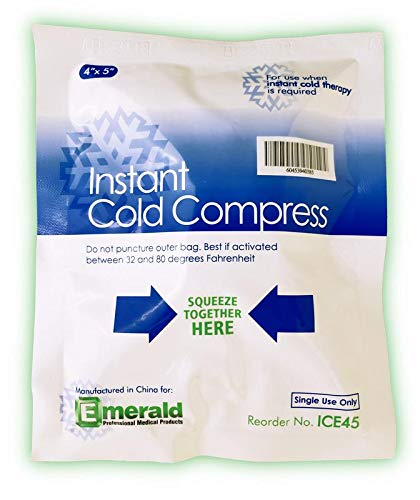 Emerald Instant Cold Compress Pack, First Aid Kit Requirement, Long Lasting, No Freezing Required, Pack of 6 Packs - Small (4