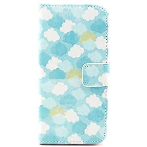 JAJAY- Clouds Flowe Pattern PU Leather Full Body Case with Stand for iPhone 4/4S