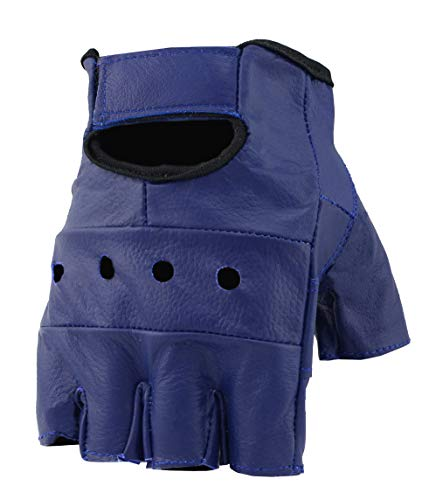 (The Bikers Zone Men's Leather Fingerless Gloves, Soft Lambskin Leather (Blue, L))