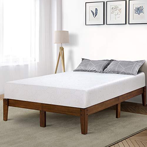 PrimaSleep PR14SF03Q-1 14 Inch Solid Wood Platform Bed Frame/Anti-Slip Support/No Box Spring Needed/Easy to Set Up Up, Queen, Light Brown