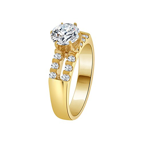 14k Yellow Gold, Lady Engagement Ring Round Created CZ Crystals 6.5mm 1.0ct Size 5.5 by GiveMeGold (Image #1)