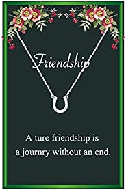 Friendship Horseshoe Necklaces for Women,Silver Horseshoe Pendant Necklace Horseback Riding Gift,Bestfriend Gi