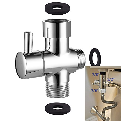 Ciencia Metal T-adapter with Shut-off t Valve, 7/8 or 15/16 and G1/2 3-way water Tee Connector,for handheld toilet bidet spray bathroom,Chrome, (Speakers Tee)