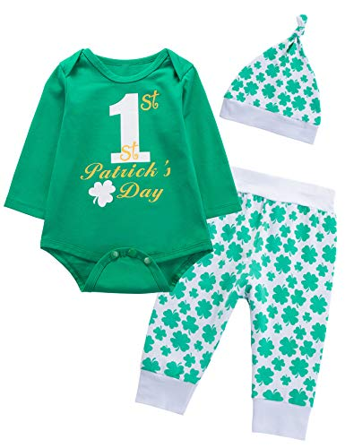 Baby Boys' Outfit Set My First St Patrick's Day Long Sleeve Clover Romper