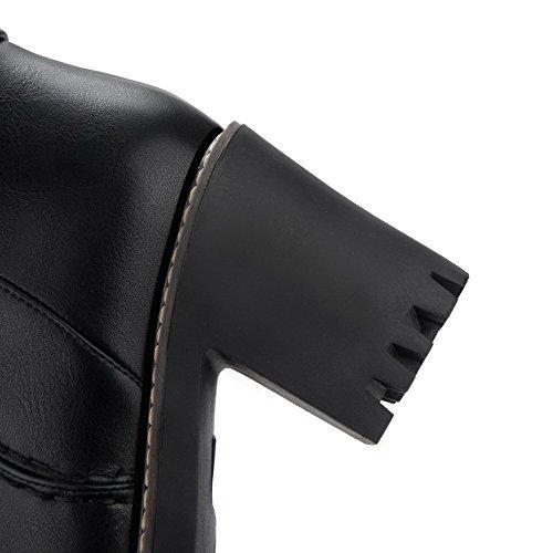 AllhqFashion Mujer Sólido Pu Tacón Alto Puntera Redonda Cremallera Botas con Metal Negro