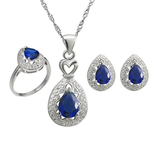 Aooaz Womens Jewelry Set Blue Oval Teardrop CZ Micro Pave CZ Ring Earrings Necklace Wedding Promise by Aooaz