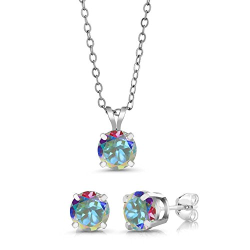 Mercury Topaz Set (3.00 Ct 6mm Mercury Mist Mystic Topaz 925 Sterling Silver Stud Pendant Earrings Set)