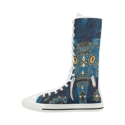 D-story Elephant Lace Up Tall Punk Dancing Lienzo Botas Largas Zapatillas Zapatos Para Mujeres