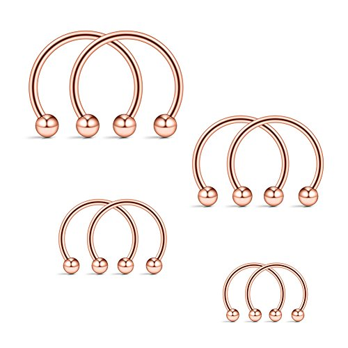 Ruifan 4prs(8pcs) 16G 316L Surgical Steel Mix Size CBR Non-Piercing Fake Nose Septum Horseshoe Earring Eyebrow Tongue Lip Nipple Helix Tragus Cartilage Piercing Ring 6mm,8mm,10mm,12mm (Rose (Horseshoe Nipple)