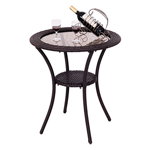 Giantex Round Rattan Wicker Coffee Table Glass Top Steel Frame Patio Furni W Lower Shelf Round