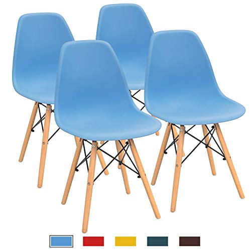 Furmax Pre Assembled Modern Style Dining Chair Mid Century Modern DSW Chair, Shell Lounge Plastic Chair for Kitchen, Dining, Bedroom, Living Room Side Chairs Set of 4(Blue) (Dining And Blue Table Chairs)