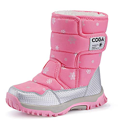 (JACKSHIBO Girls Boys Outdoor Waterproof Winter Snow Boots,Pink,10 M US Toddler/16.5 cm/27)