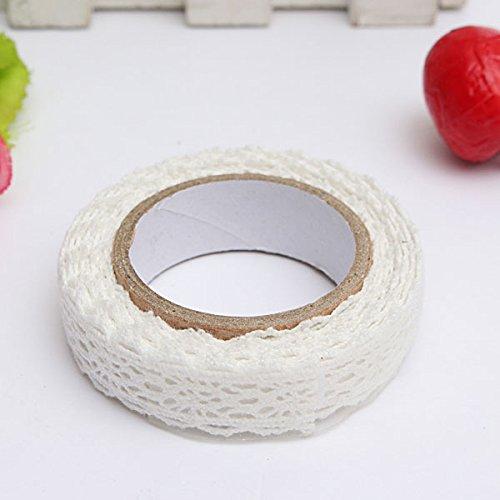 MECO 1pc Rouleau Ruban Dentelle Décoratif Adhésif Autocollant Galon Masking Tape washi DIY 18mm blanc