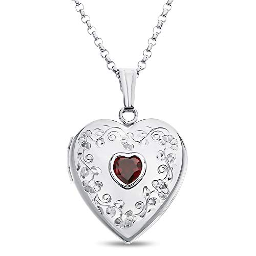 - Finejewelers Sterling Silver Heart Locket Pendant Necklace with Genuine Garnet January Birthstone