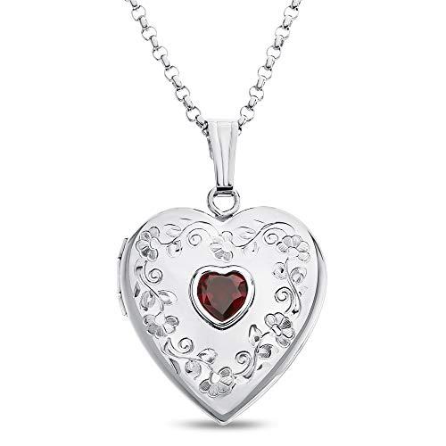 Finejewelers Sterling Silver Heart Locket Pendant Necklace with Genuine Garnet January Birthstone]()