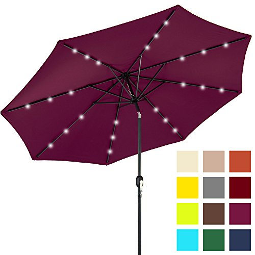Burgundy Patio Umbrella (Best Choice Products 10ft Solar LED Lighted Patio Umbrella w/Tilt Adjustment - Burgundy)