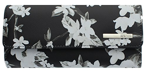 Kenneth Cole Reaction Womens Saffiano Clutch Wallet Trifold W Coin Purse (FLORAL BLOSSOM)