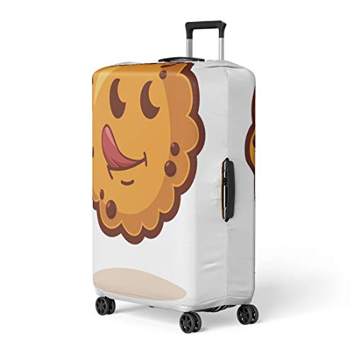 Pinbeam Luggage Cover Cartoon Cookies Tongue Cute Biscuit Character Kawaii Face Travel Suitcase Cover Protector Baggage Case Fits 18-22 inches