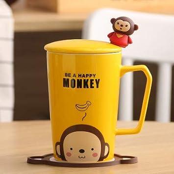 LOYWT Coppe creative, tazze, tazze, tazze, tazze del fumetto, tazze di caffè, tazze, tazze, tazze e cucchiai di, Gattino