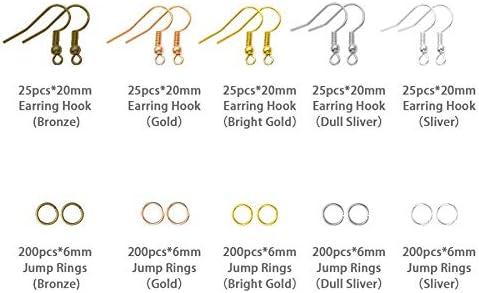 Tweezers Jump Rings Jump Ring Opener for Earrings Making and Repairring Pliers ACAMPTAR 1128 Pieces Earring Making Supplies Kit with Earring Hooks