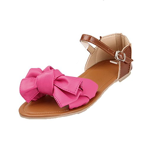 AalarDom Soft Buckle Open Materials Sandals Peach Toe Solid Womens Low Heels rZTrF7