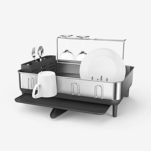 simplehuman Steel Frame Kitchen Drying Swivel Spout, Fingerprint-Proof Dish Rack, Full-Size, Grey Plastic