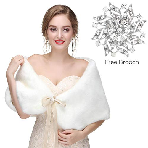 Olbye Women's Faux Fur Wraps Wedding Fur Shawls Wraps 1920 Fur Stoles Bridal Mink Fur Wrap for Women and Girls (White)